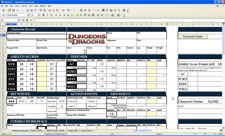 Calc Spreadsheet Intended For Openoffice 3.1 Review Image Openoffice 3.1 Calc Spreadsheet Dnd Test