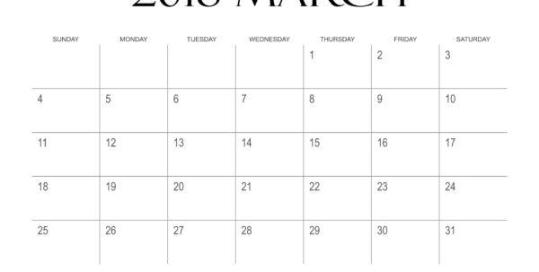 Calendar Spreadsheet 2018 For March 2018 Calendar Printable Templates