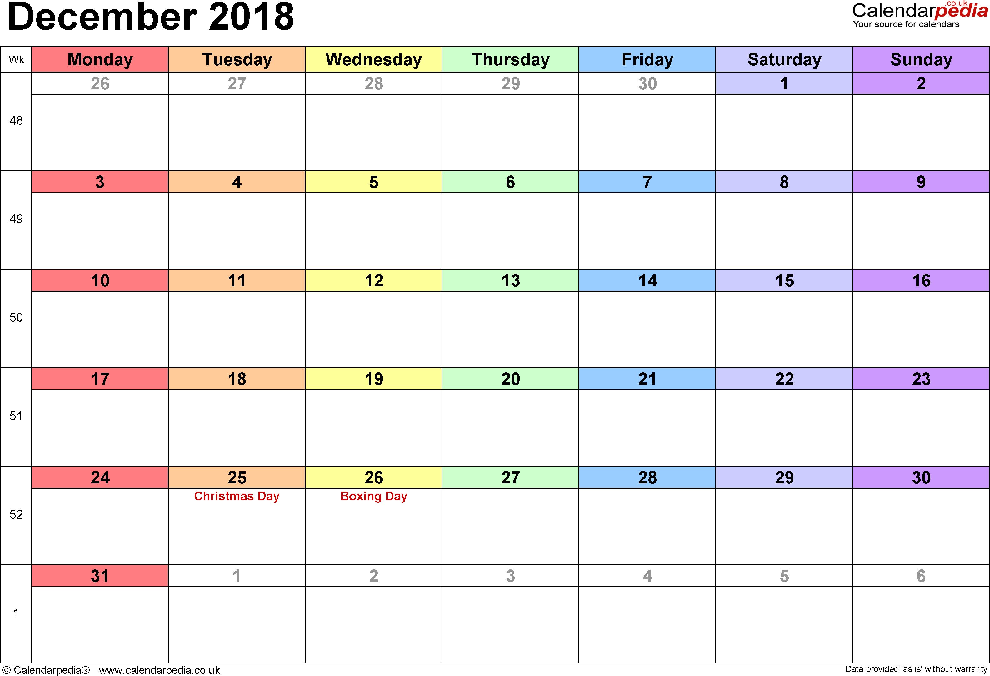 Calendar Spreadsheet 2018 Inside Calendar December 2018 Uk, Bank Holidays, Excel/pdf/word Templates