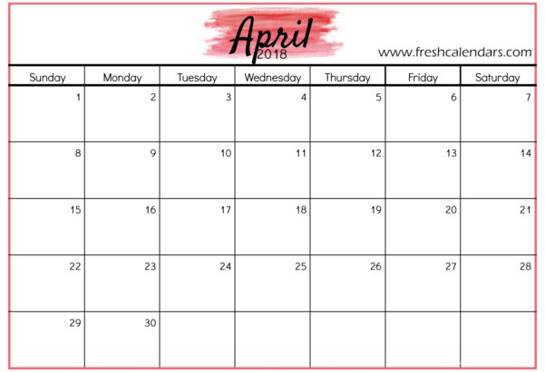 Calendar Spreadsheet 2018 Intended For April 2018 Calendar Printable Templates
