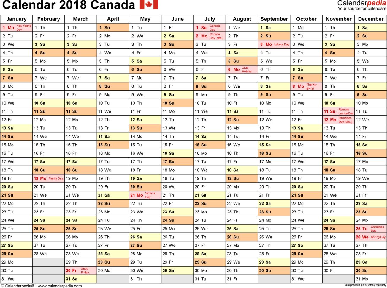 Calendar Spreadsheet 2018 Pertaining To Canada Calendar 2018  Free Printable Excel Templates