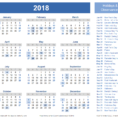 Calendar Spreadsheet 2018 With 2018 Calendar Templates, Images And Pdfs