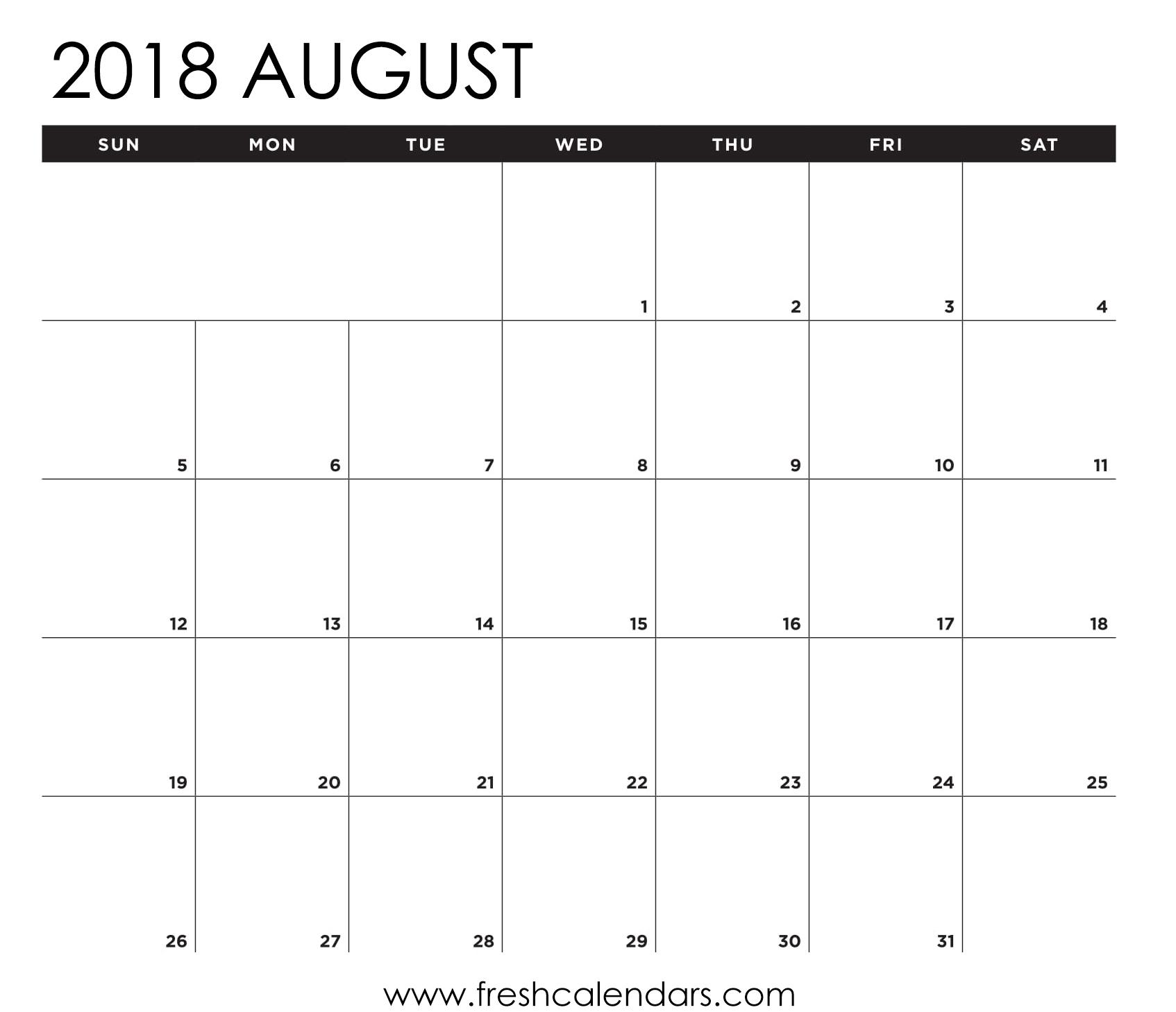 Calendar Spreadsheet Template 2018 In August 2018 Calendar Printable Templates