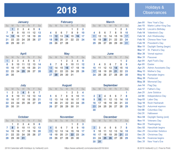 Calendar Spreadsheet Template 2018 With 2018 Calendar Templates, Images And Pdfs