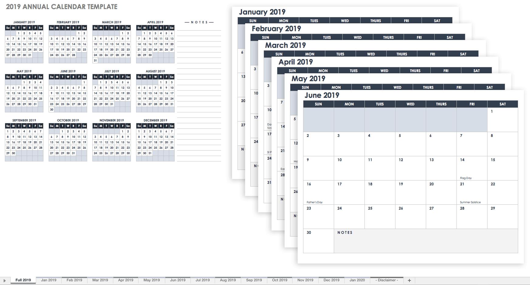 Calendar Spreadsheet Template In 15 Free Monthly Calendar Templates  Smartsheet