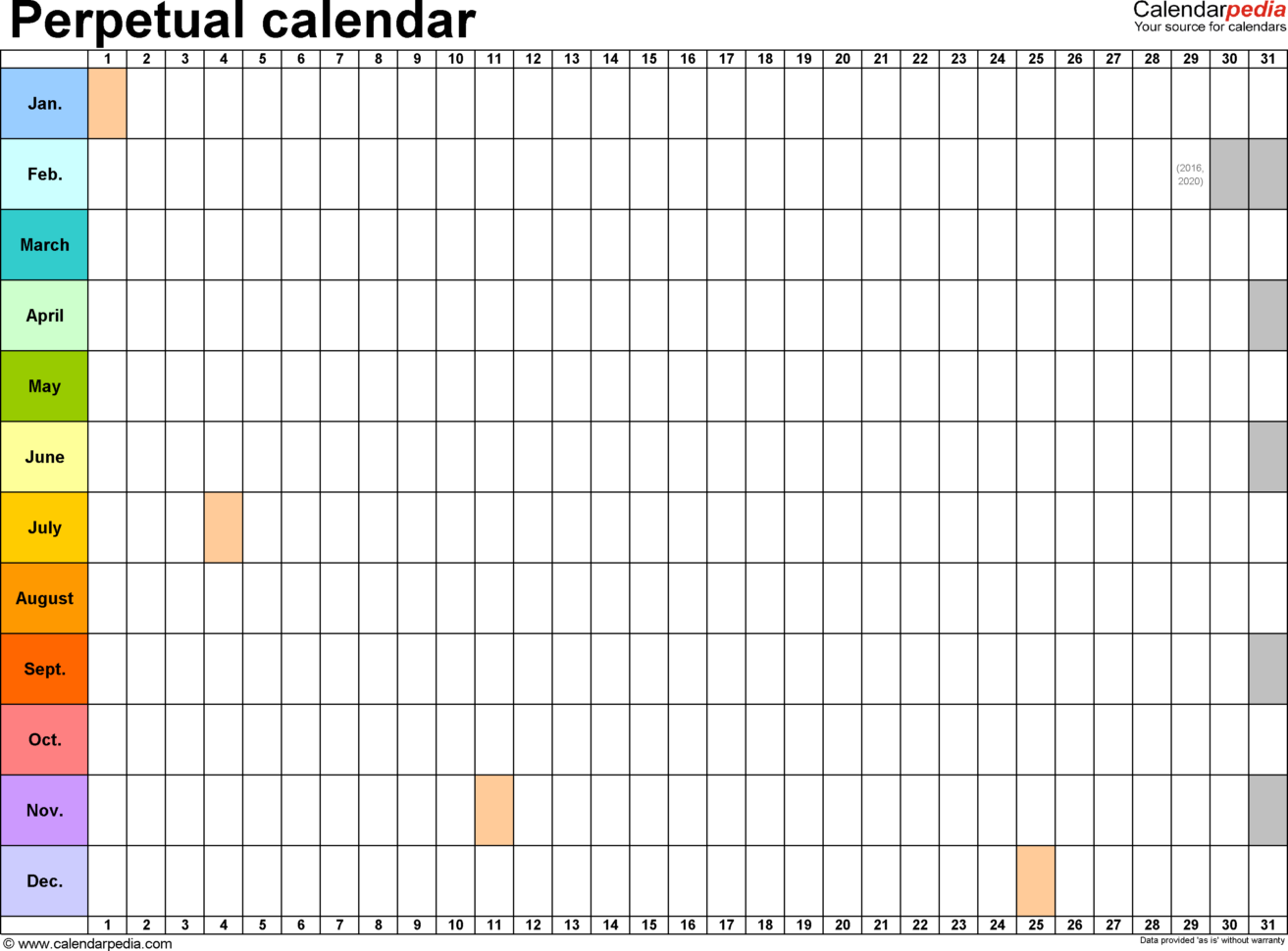 Calendar Spreadsheet Template Within Perpetual Calendars  7 Free Printable Excel Templates