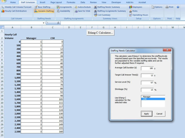 Call Center Scheduling Excel Spreadsheet Within Excel Scheduling