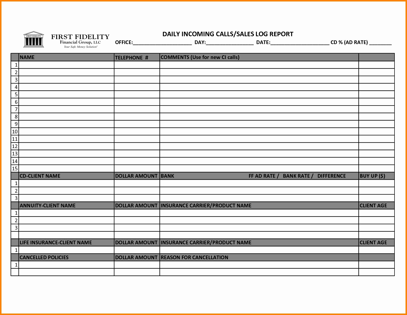 call tracking spreadsheet template inside sales call. Black Bedroom Furniture Sets. Home Design Ideas