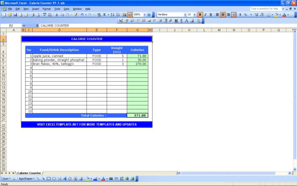 Calorie Counter Excel Spreadsheet Free Download With Calorie Counter Calculator  Excel Templates