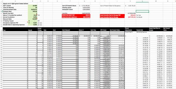 Cap Rate Spreadsheet For Cap Rate Spreadsheet Beautiful Calculate Effective Rent Excel
