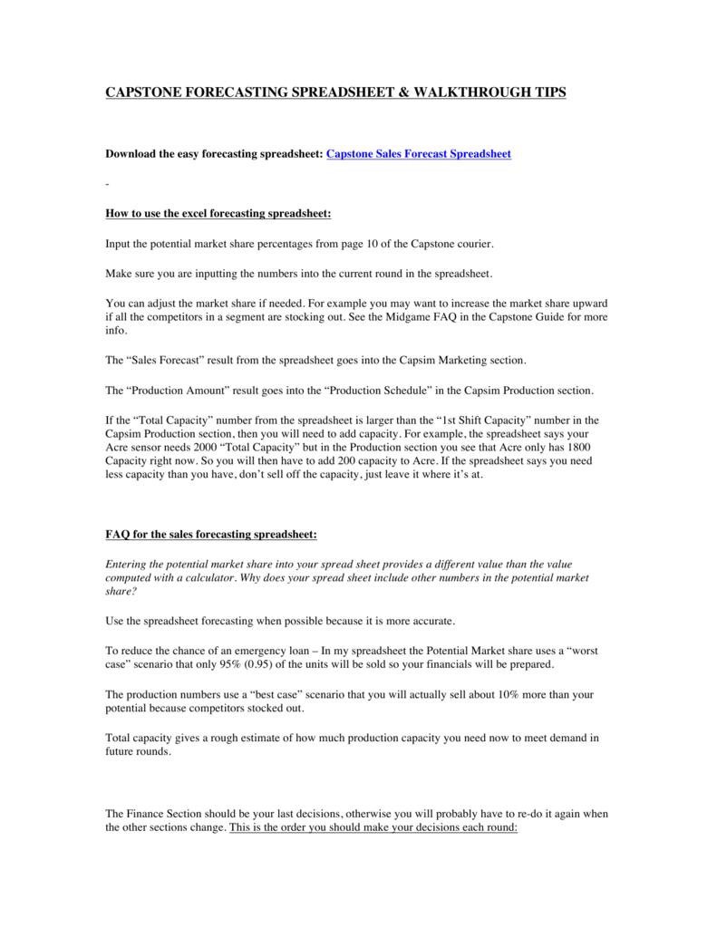 Capstone Forecasting Spreadsheet & Walkthrough Tips Inside Capstone Forecasting Spreadsheet  Walkthrough Tips