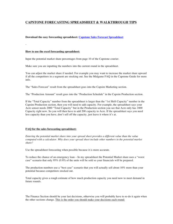 Capstone Sales Forecast Spreadsheet With Capstone Forecasting Spreadsheet  Walkthrough Tips