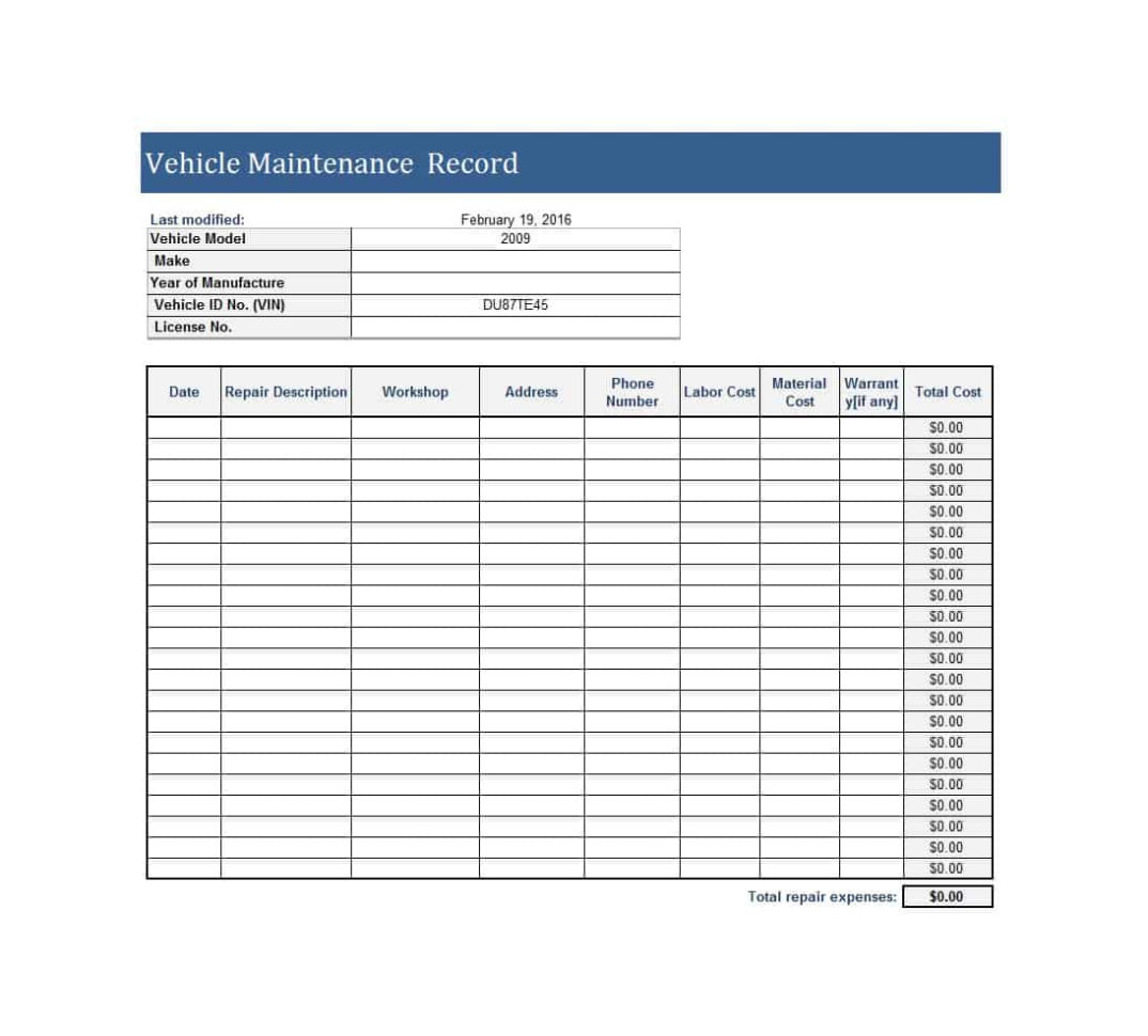 Car Maintenance Spreadsheet With 40 Printable Vehicle Maintenance Log Templates  Template Lab