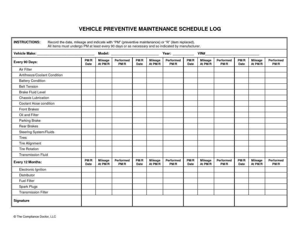 Car Maintenance Spreadsheet Within Truck Maintenance Spreadsheet And Vehicle Maintenance Plan Template