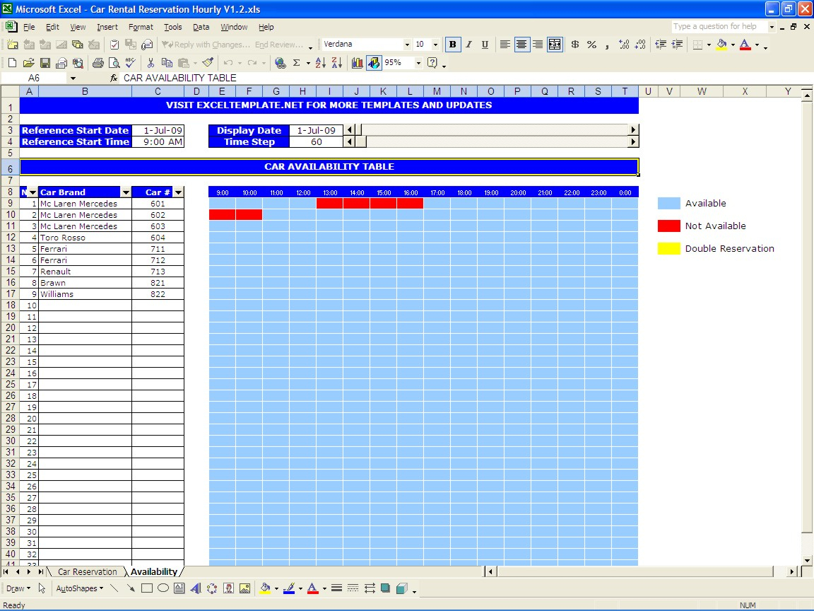 Car Rental Business Spreadsheet For Car Rental Reservations  Excel Templates