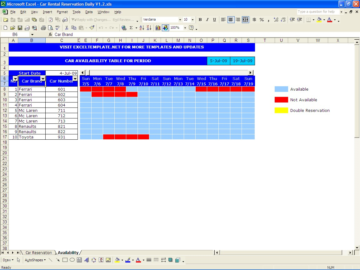 Car Rental Business Spreadsheet Within Car Rental Reservations  Excel Templates