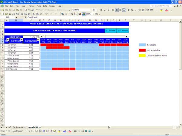 Car Rental Reservation Spreadsheet Regarding Car Rental Reservations  Excel Templates