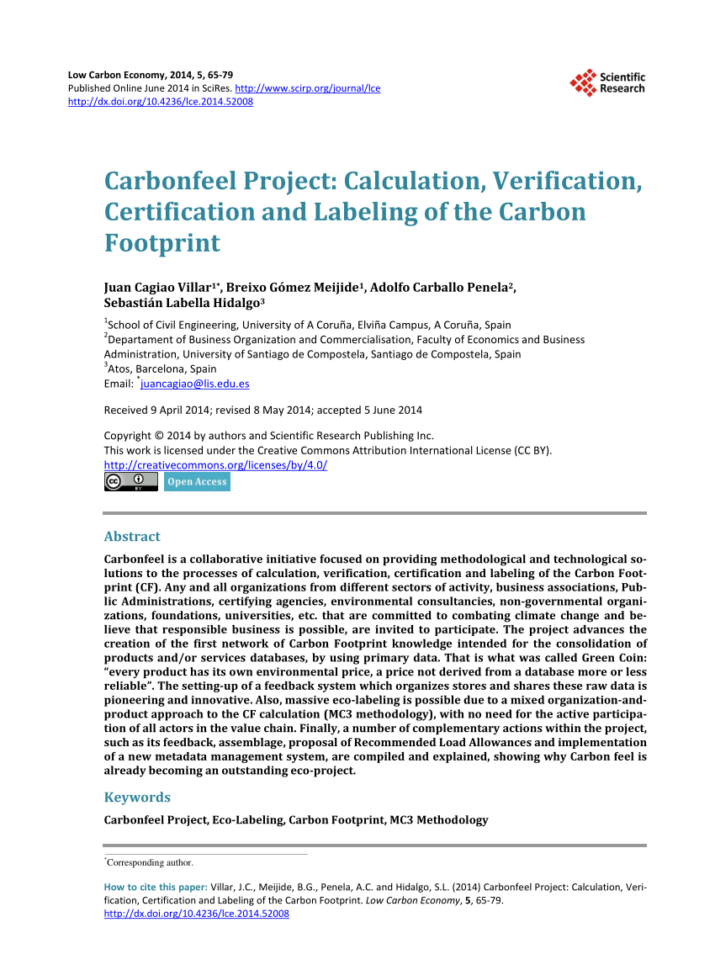 Carbon Footprint Calculator Excel Spreadsheet In Pdf Carbonfeel Project: Calculation, Verification, Certification