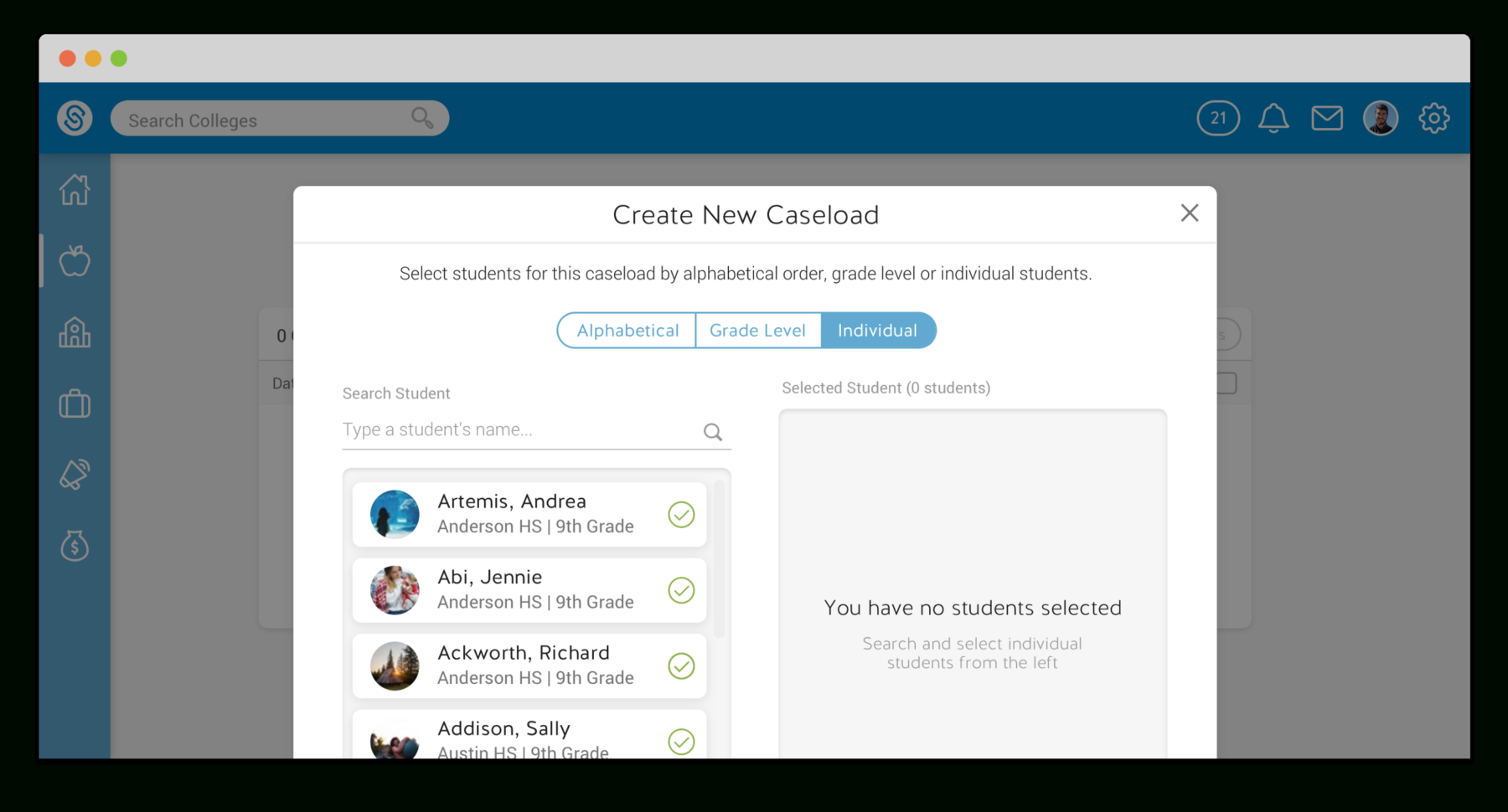 Caseload Spreadsheet Inside Schoolinks: Helping Counselors Organize Students – Susan Eun Seo