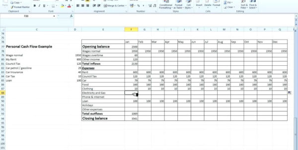 Cash Flow Projection Spreadsheet In Project Management Forecasting Template Month Cash Flow Projection