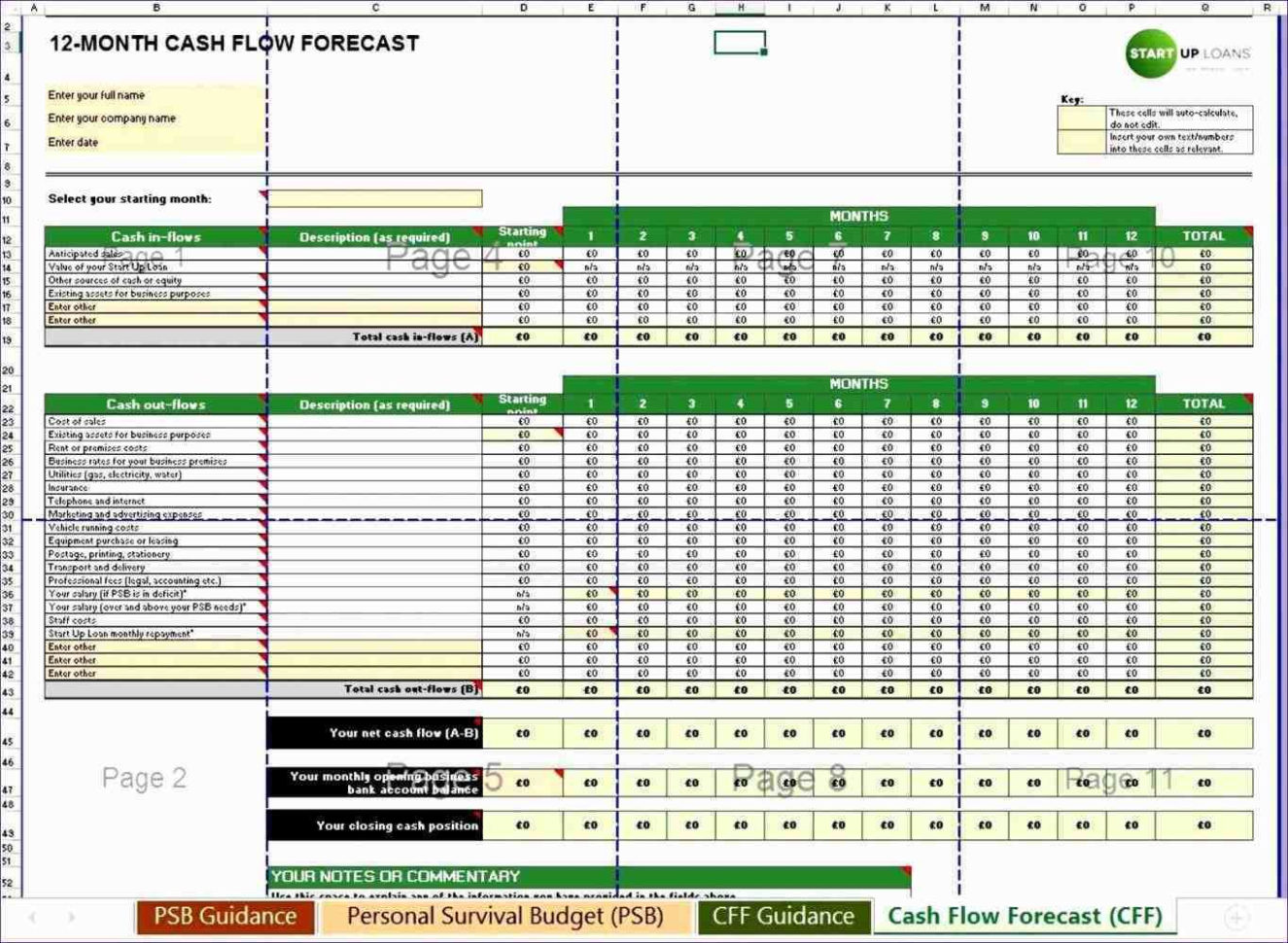 Cash Flow Projection Spreadsheet Regarding Cbbafaddebefe Reference Of Cash Flow Projection Template