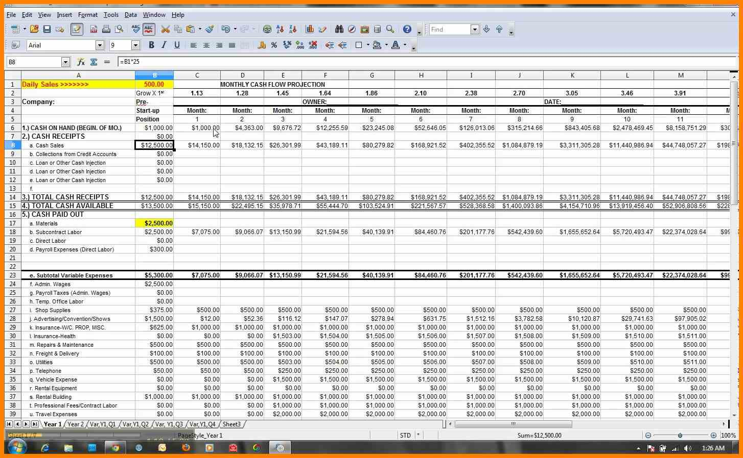 Cash Flow Projection Spreadsheet Template Throughout Financial Forecast Template Excel Create A Cash Flow Using Microsoft