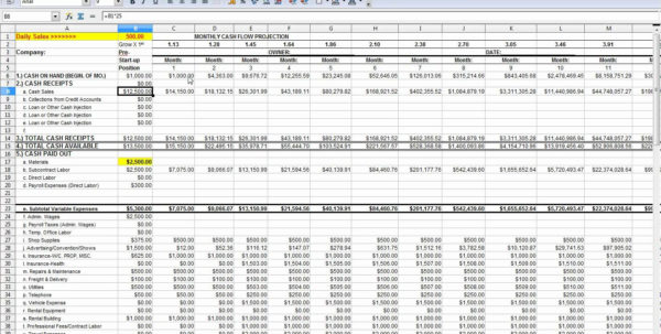 Cash Flow Projection Spreadsheet With Regard To Free Cash Flow Statement Templates Smartsheet Projection Sample