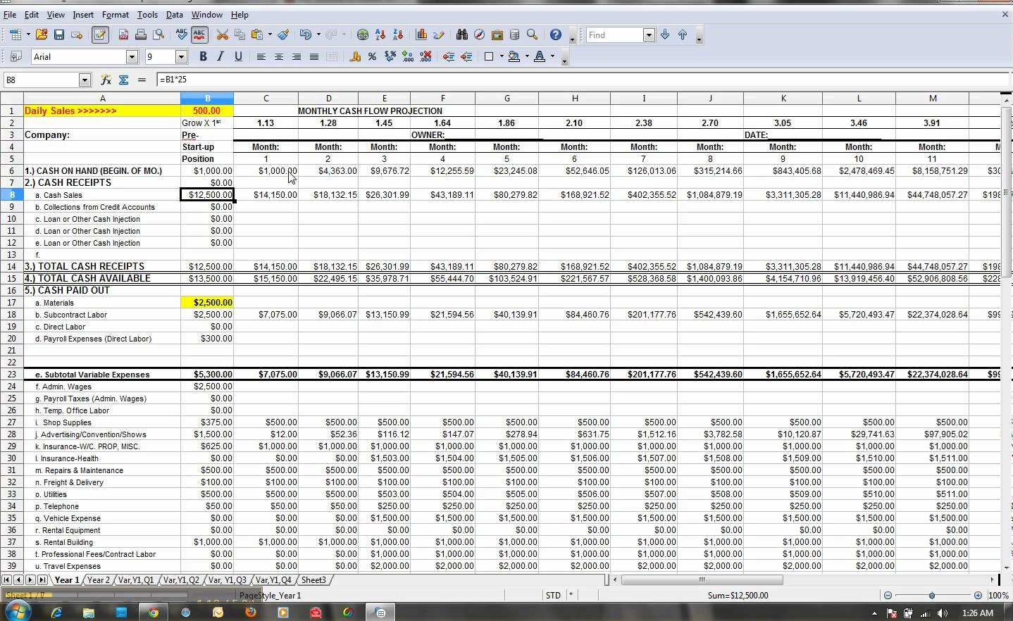 Cash Flow Projection Spreadsheet Google Spreadshee cash ...