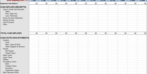 Cash Flow Spreadsheet Download Within Weekly Cash Flow Worksheet
