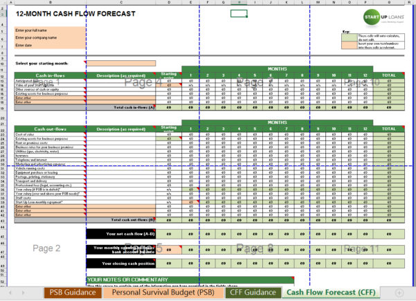 Cash Flow Spreadsheet Excel For Cash Flow Forecast   Supplementary Personal Survival Budget Excel