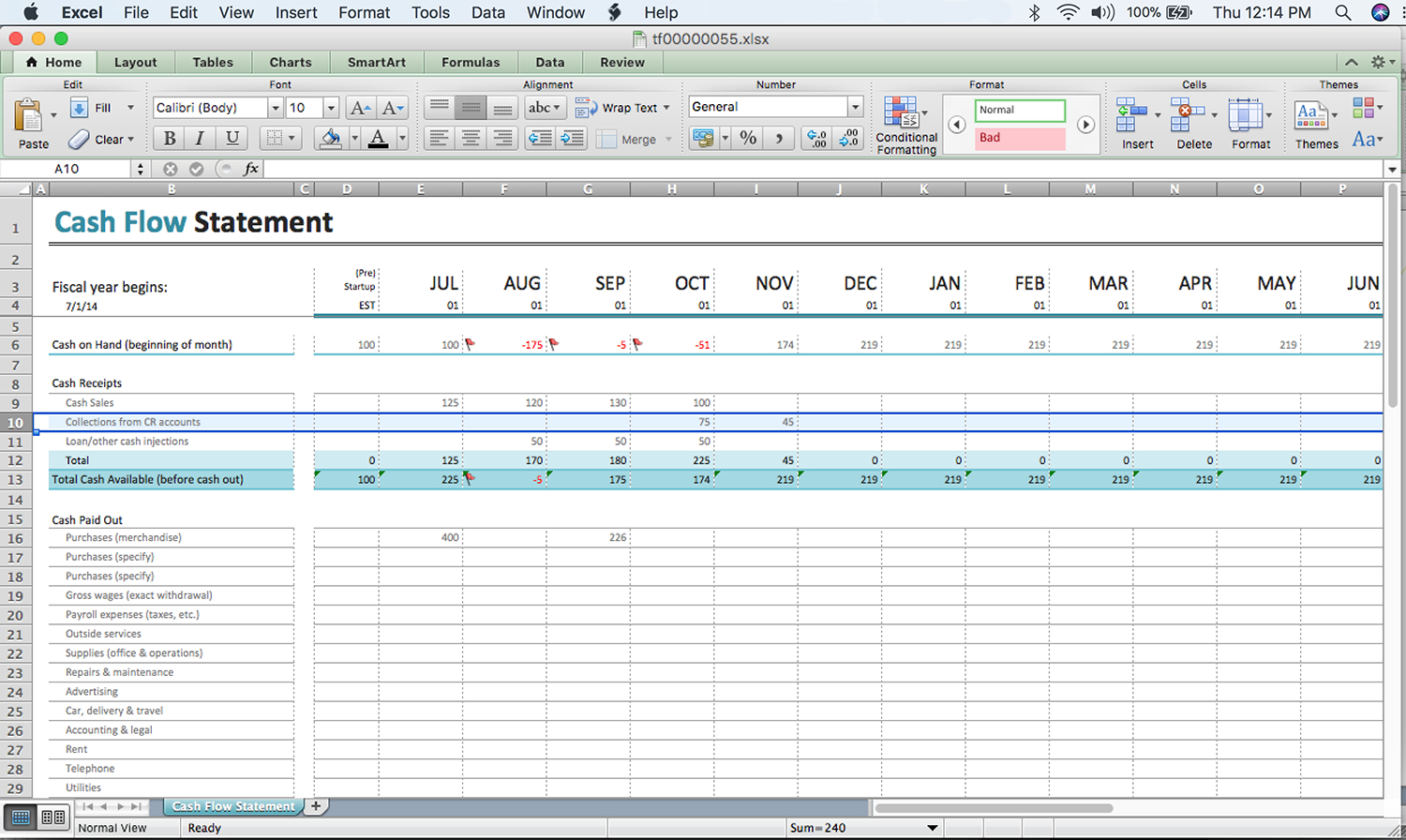 Cash Flow Spreadsheet Excel Regarding A Beginner's Cash Flow Forecast: Microsoft's Excel Template  The