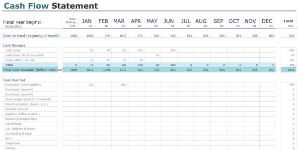 Cash Flow Spreadsheet Excel Regarding Free Cash Flow Statement Templates For Excel  Invoiceberry