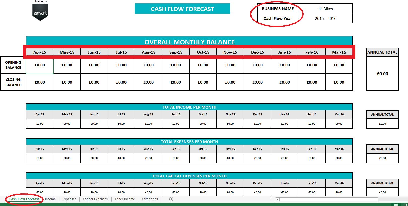 Cash Flow Spreadsheet Template Free Regarding Free Uk Cash Flow Template  Zervant Blog