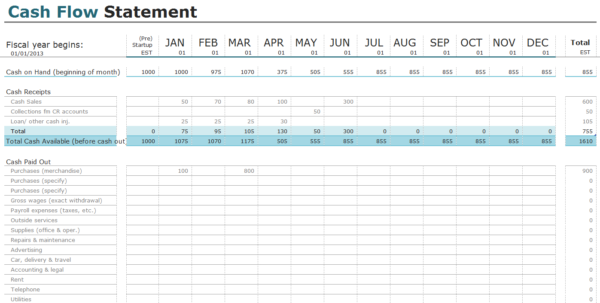 Cash Flow Spreadsheet With Regard To Free Cash Flow Statement Templates For Excel  Invoiceberry