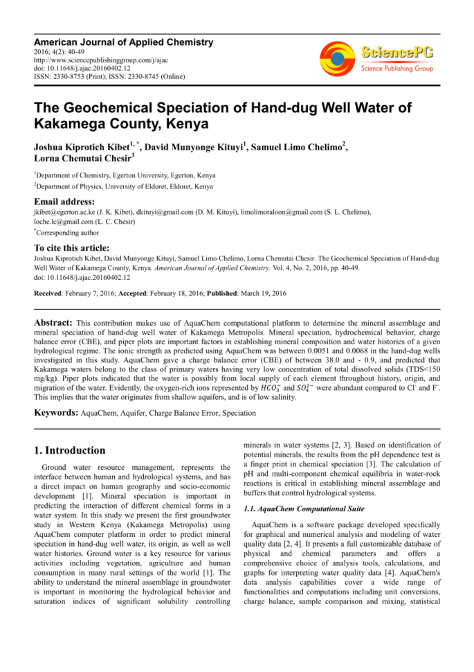 Cation Anion Balance Spreadsheet Pertaining To Pdf The Geochemical Speciation Of Handdug Well Water Of Kakamega