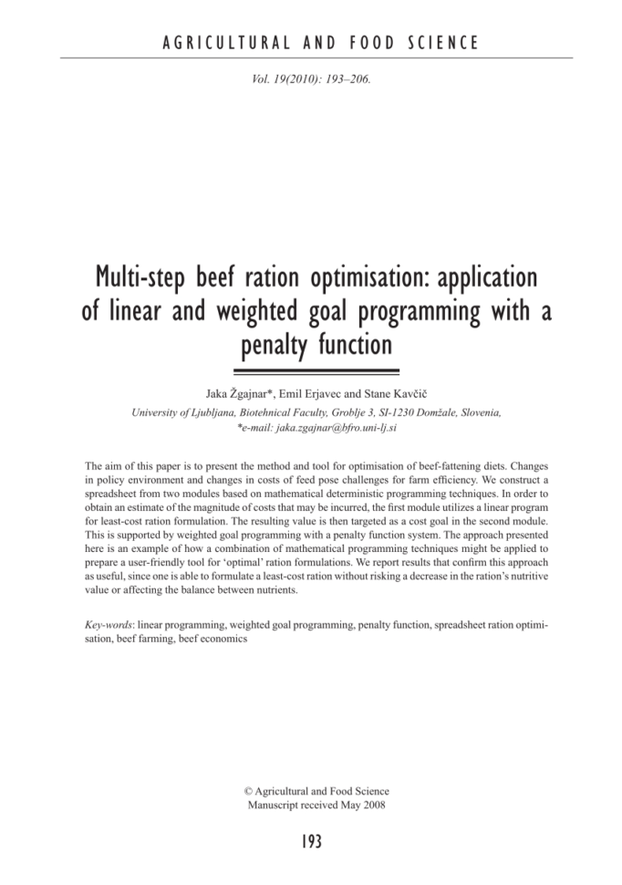 Cattle Ration Spreadsheet Pertaining To Pdf Multistep Beef Ration Optimisation: Application Of Linear And