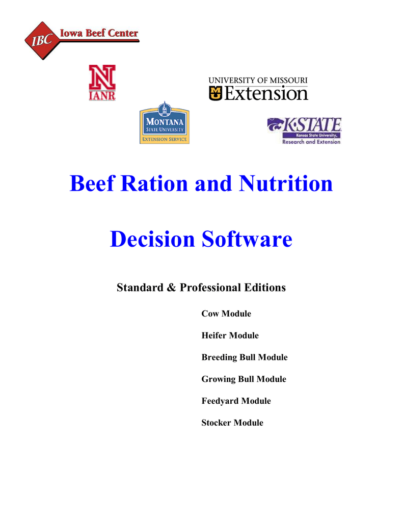 Cattle Ration Spreadsheet Throughout Beef Ration And Nutrition Decision Software Standard  Professional