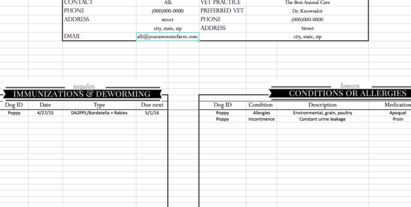 Cattle Record Keeping Spreadsheet With Regard To Animal Records Spreadsheet