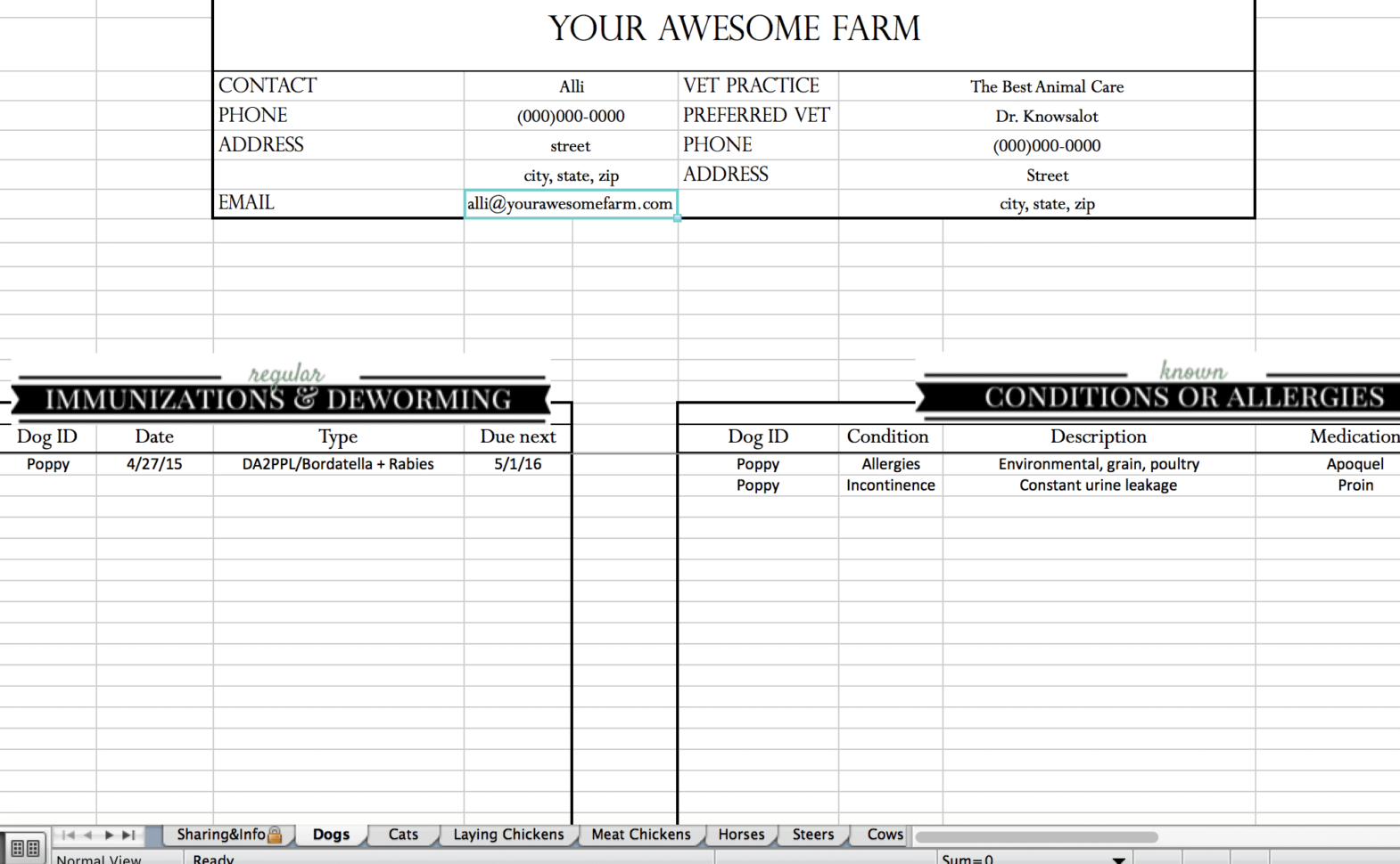 Cattle Spreadsheets For Records With Animal Records Spreadsheet