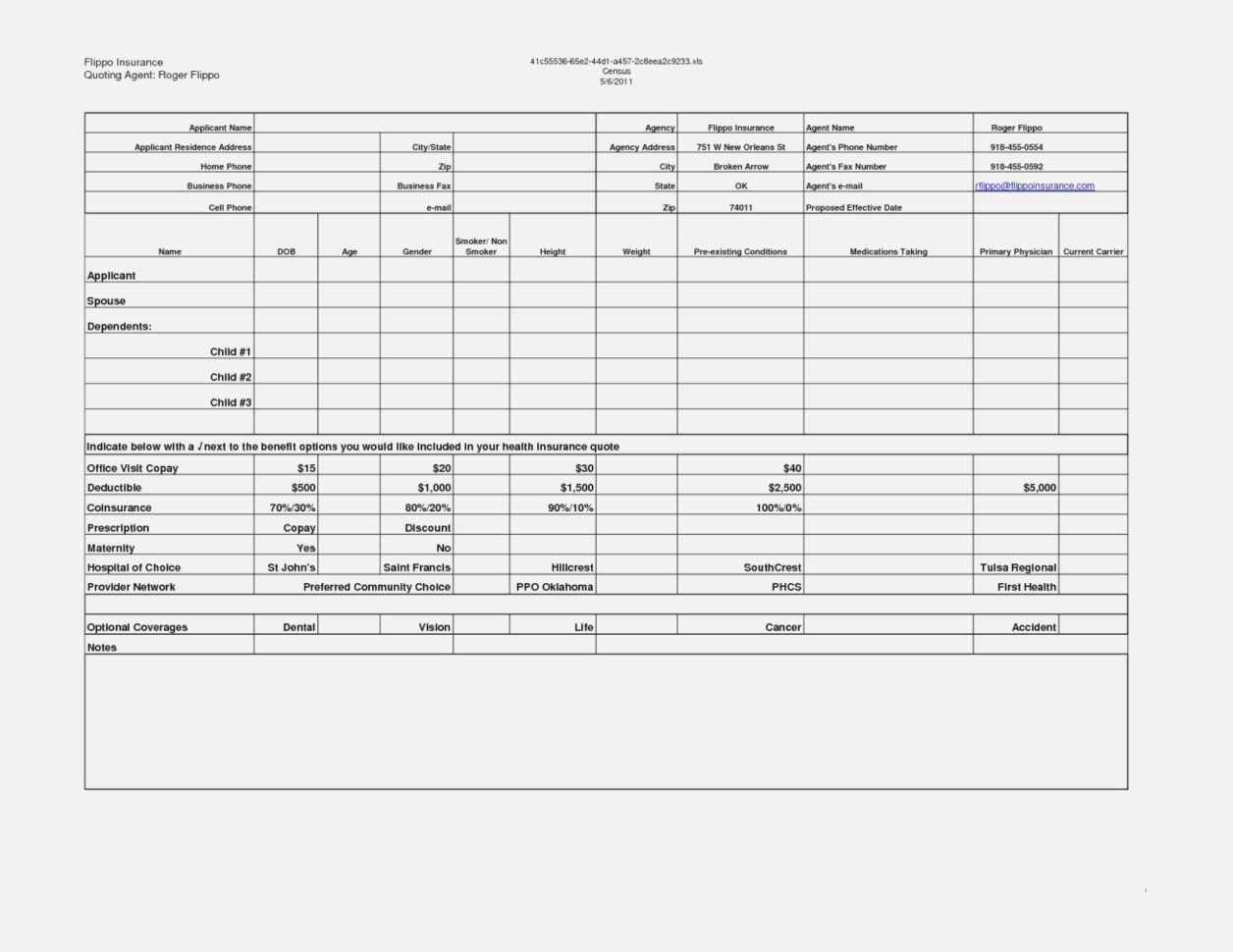 Census Spreadsheet Template Regarding Spreadsheet To Compare Health Insurance Quotes Comparison Template