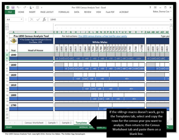 Census Spreadsheet Template Throughout Pre1850 Census Drama: A Tool For Your Sanity [See Update]  The