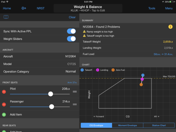 Cessna 206 Weight And Balance Spreadsheet For How To Use The New Preflight Planning Tools In Garmin Pilot  Ipad