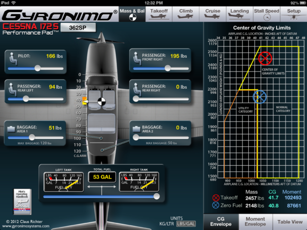 Cessna 206 Weight And Balance Spreadsheet Intended For Gyronimo Aircraft Performance Apps  Ipad Pilot News