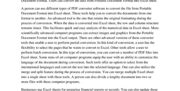 Change Pdf To Excel Spreadsheet Within What Are The Benefits Of Converting Pdf To Excel Sheet For Business