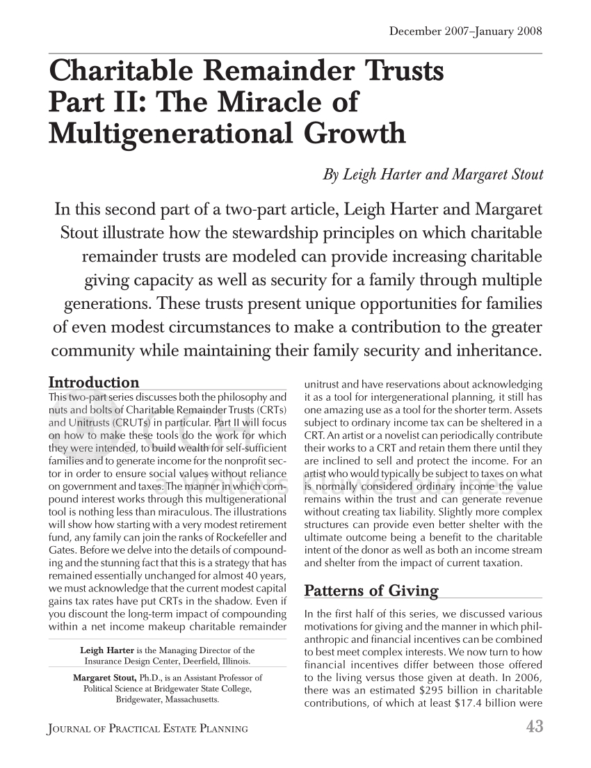 Charitable Remainder Trust Spreadsheet Within Pdf Charitable Remainder Trusts Part Ii: The Miracle Of