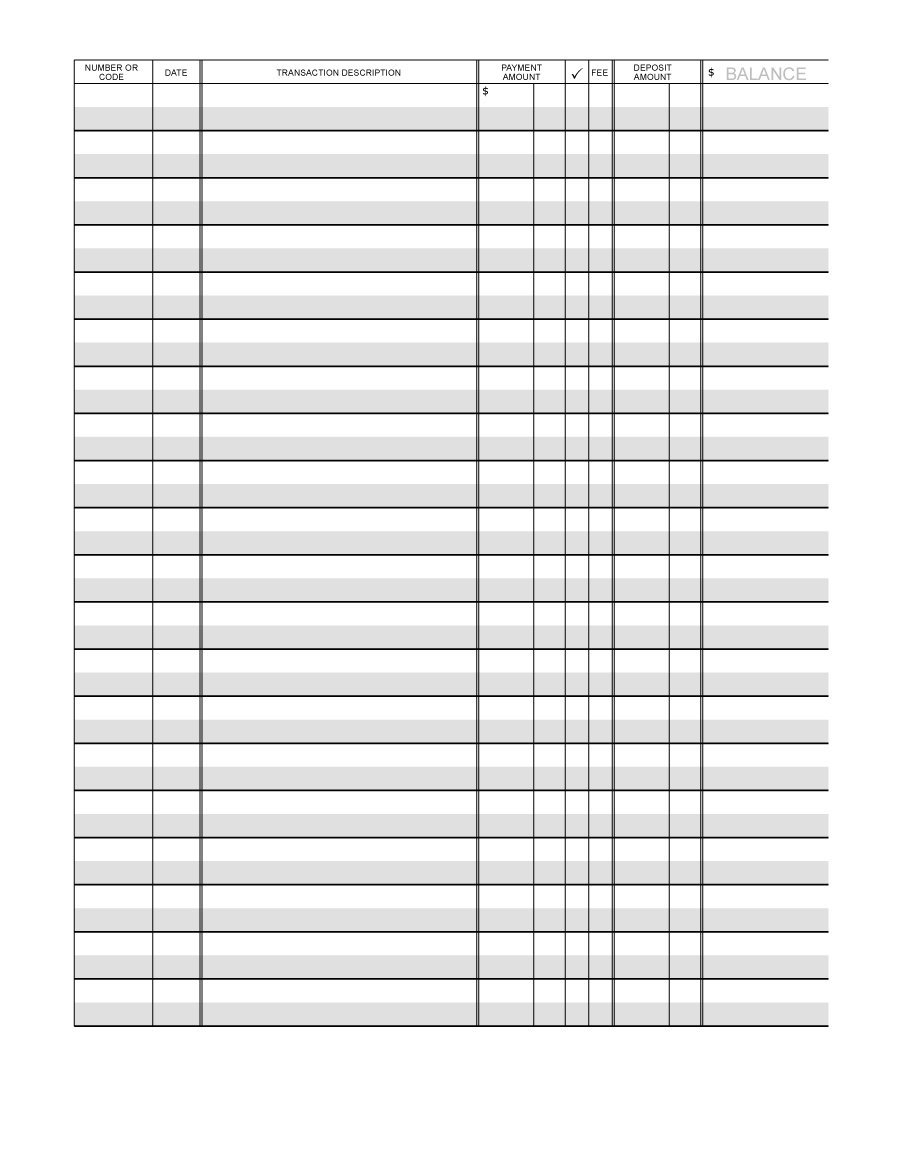 Check Register Spreadsheet Template Throughout 37 Checkbook Register Templates [100% Free, Printable]  Template Lab