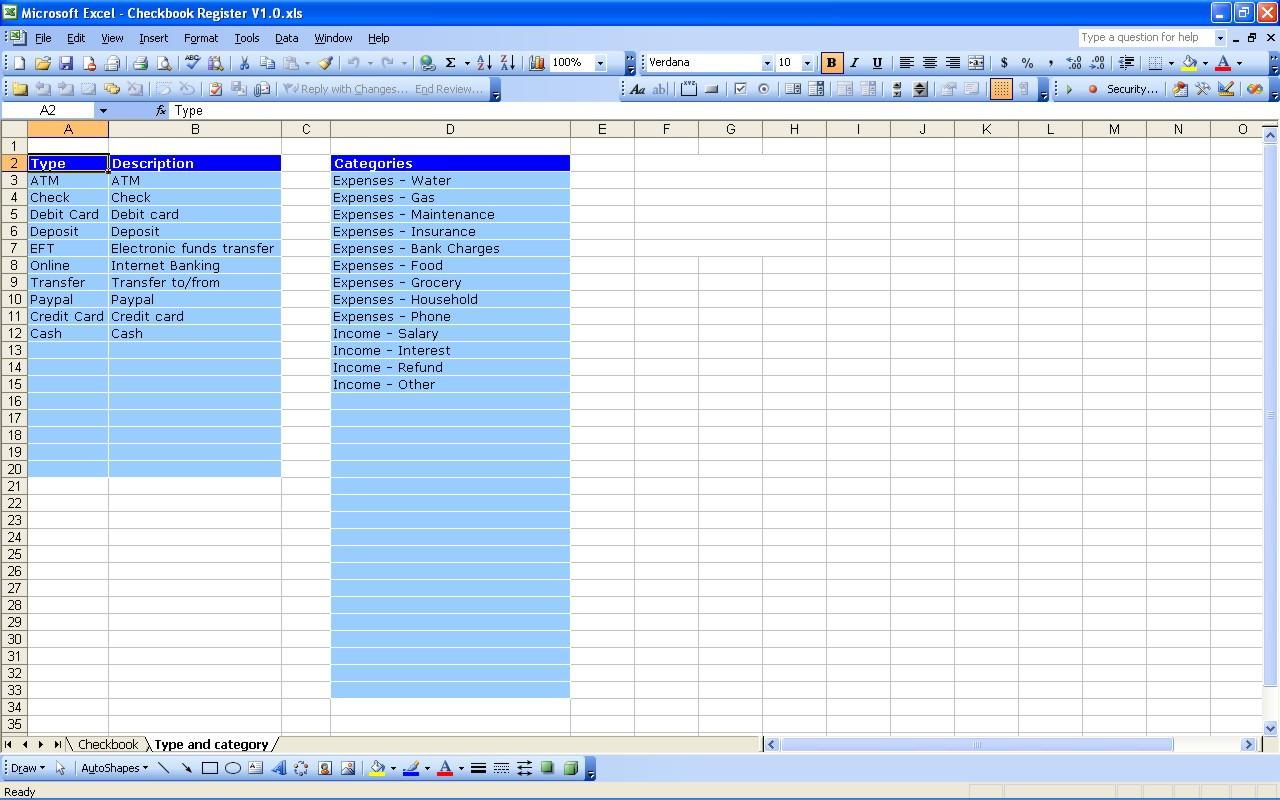 Checkbook Register Spreadsheet Excel Throughout Checkbook Register  Excel Templates