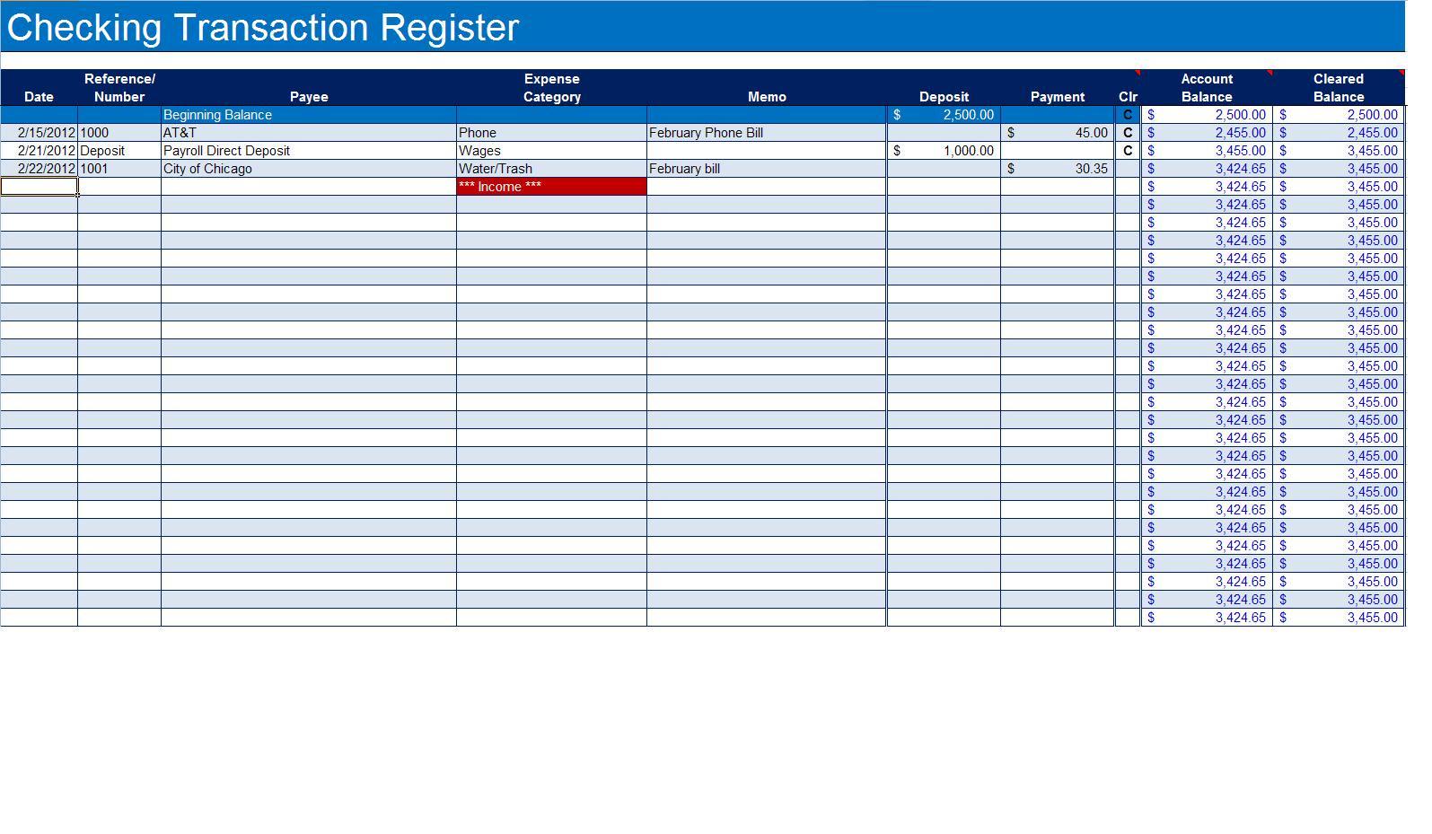 Checkbook Register Spreadsheet Excel Within How To Create A Checkbook Register In Excel  Turbofuture