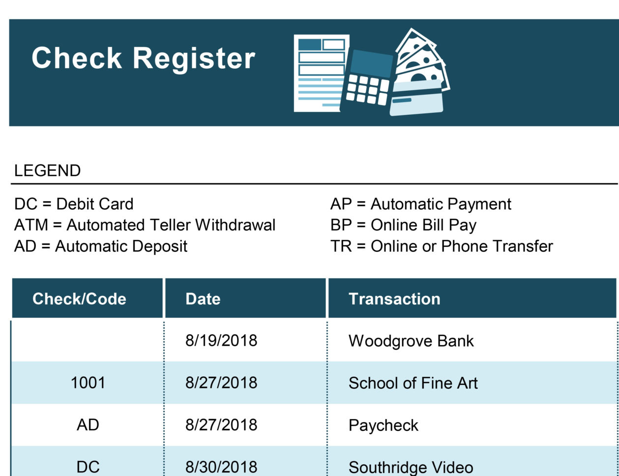Checkbook Spreadsheet Throughout Check Register With Transaction Codes