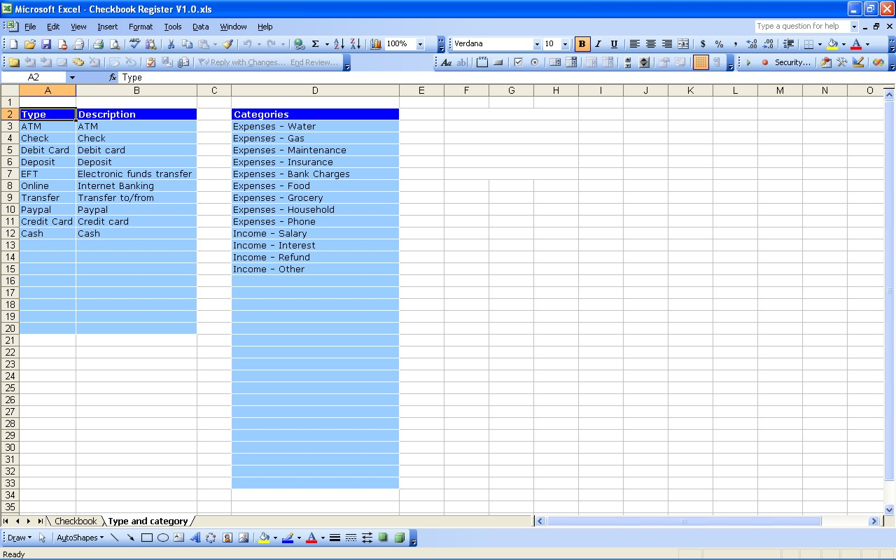 Checkbook Spreadsheet With Regard To Checkbook Register  Excel Templates